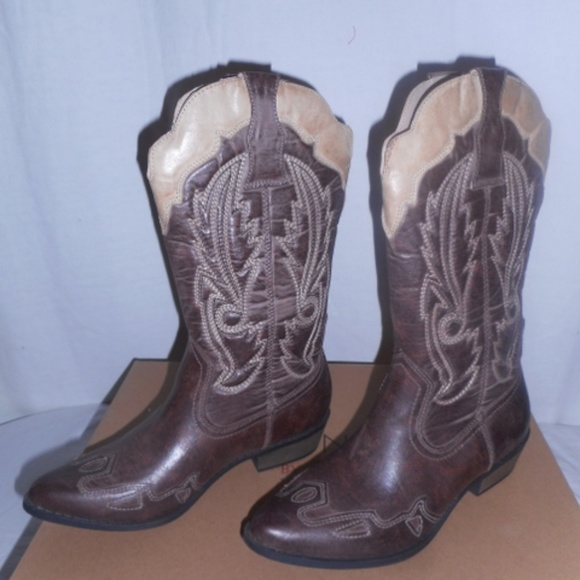 7348265714f Coconuts By Matisse Chocolate & Beige Cowboy Boots NWT